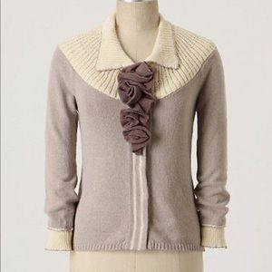 Anthropologie field flower lilac cardigan sweater